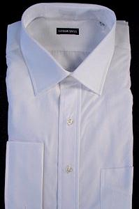 #306371. 17.0 36-37 Tall. WHITE Retail $  76.00 Dress Long Sleeves by GITMAN BROTHERS. FRENCH CUFF SPREAD FW:  1