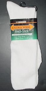 #115720.  . WHITE Retail $  10.00 Regular Sized Socks by EXTRA WIDE SOCK. MEDI-SOCK XL Whs A: 12 FW:  4 FBA:234