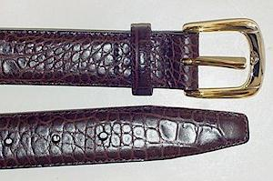 #075121. 46 . BROWN Retail $  36.00 Belts by MARK WOLF. ITALIAN TOP GRAIN EMB FW:  1