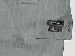 #265993. 48 LONG. GREY Retail $ 425.00 Clothing/Suits by PETROCELLI. SUPER 120S TONAL FW:  1,