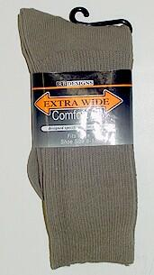 #191469.  . TAN Retail $   9.00 Regular Sized Socks by EXTRA WIDE SOCK. REG SIZE X-WIDE Whs A: 12