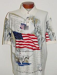 #262996. L TALL. NATURAL Retail $  59.00 Short Sleeve by CTTON TRADERS. FLAG NEW YORK USA Whs:  2,