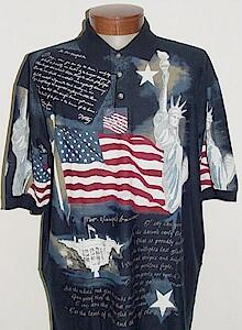 #262958. L TALL. NAVY Retail $  59.00 Short Sleeve by CTTON TRADERS. FLAG NEW YORK USA Whs:  1,FW:  2,