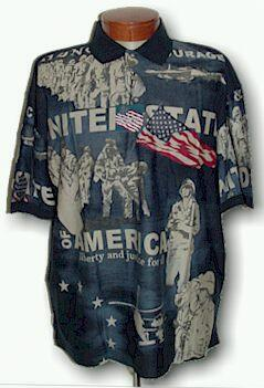 #175681. L TALL. NAVY Retail $  55.00 Short Sleeve by CTTON TRADERS. USA BATTLES FW:  1,