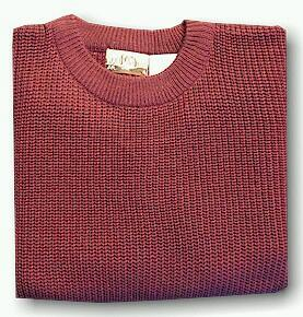 #088521. XL BIG. BURGUNDY Retail $  39.00 Sweaters by WOOD LAND TRAIL. ACRYLIC SHAKER CREW Whs:  4,