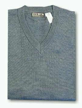 #276676. XL BIG. INDIGO Retail $  59.00 Sweaters by D'AVILA. MERINO VNECK DROPNDLE Whs:  2,