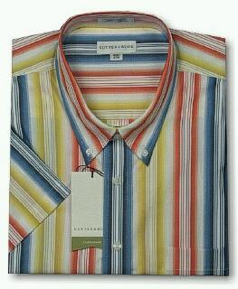 #158206. L TALL. MULTI Retail $  88.00 Short Sleeve by CUTTER BUCK. SUNSET STRIPE FW:  1