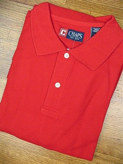 #190587. 5XL BIG. RED Retail $  47.50 Short Sleeve by CHAPS. SOLID PIQUE POLO FW:  1