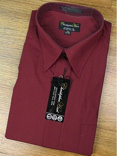#339805. 18.0 36-37 Big. BURGUNDY Retail $  45.00 Dress Long Sleeves by CHRISTOPHER HART. COMFORT BROADCLOTH FW:  1,
