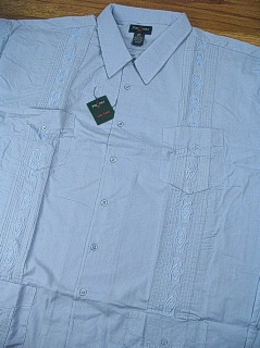 #137643. 5XL TALL. BLUE Retail $  54.00 Short Sleeve by FOXFIRE. GUAYABERA Whs A:  1