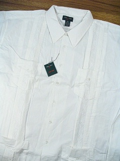 #134093. 4XL BIG. WHITE Retail $  44.00 Short Sleeve by FOXFIRE. GUAYABERA Whs:  1,FW:  1,