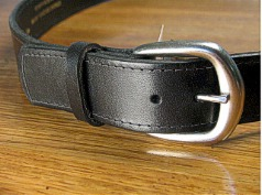 #095565. 54 . BLACK Retail $  34.00 Belts by MARK WOLF. OIL TAN 1 1/2 STITCH Whs A:  2