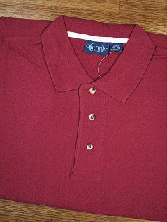 #082350. L TALL. WINE Retail $  32.00 Short Sleeve by OUTFITTER. PIQUE POLO NON-POCKET Whs A:  8