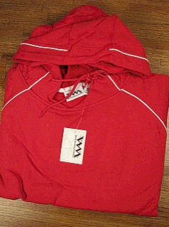 #007223. L TALL. RED Retail $  40.00 Athletic Crew by WHITE MOUNTAIN. PULLOVER FLEECE HOODY Whs A:  7