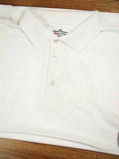#177634. 5XL BIG. WHITE Retail $  36.00 Dri Power Polo by RUSSELL. DRI-POWER SOLID POLO Whs A:  1 FW:  1