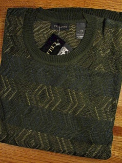#311919. 2XL BIG. OLIVE Retail $  79.50 Sweaters by CELLINI. CREW VERTICAL DIAMOND FW:  1