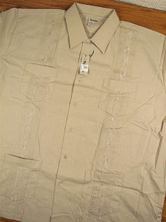 #093628. 3XL TALL. TAN Retail $  44.00 Short Sleeve by FOXFIRE. GUAYABERA Whs:  2,FW:  1,