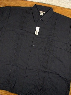 #051198. 6XL TALL. BLACK Retail $  46.00 Short Sleeve by FOXFIRE. GUAYABERA FW:  1