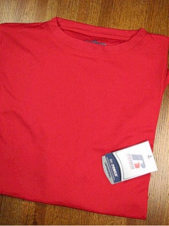 #117838. 3XL TALL. RED Retail $  33.00 Dri Power Crew by RUSSELL. DRI-POWER CREW TEE Whs A:  4