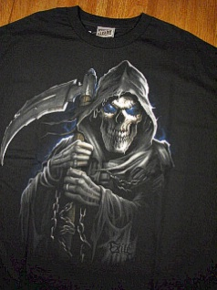 #071178. 2XL BIG. BLACK Retail $  29.00 Short Slv Graphic Tee by CORZINI. GRIM REEPER Whs A:  3