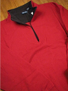 #325936. L TALL. RED Retail $  39.00 Athletic Crew by OUTFITTER. 1/4 ZIP FLEECE JACKET Whs A:  1