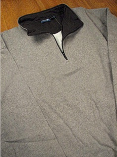 #047395. L TALL. GREY Retail $  39.00 Athletic Crew by OUTFITTER. 1/4 ZIP FLEECE JACKET Whs A:  2