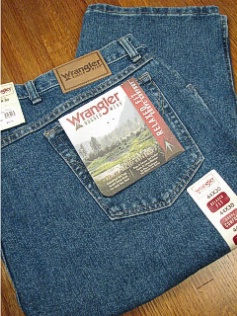 #056515. 52 34. INDIGO Retail $  46.00 Cotton Jean by WRANGLER. RELAXED FIT JEAN <font face=arial size=2><BR>Special Order Item.</font> <B>Item stocked by Wrangler.  Allow 2 weeks for delivery.</B>