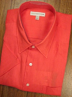 #135607. XL TALL. CORAL Retail $  89.00 Short Sleeve by CUTTER BUCK. COASTAL LINEN SOLID FW:  1