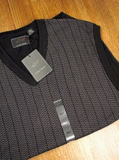 #193405. XL TALL. BLACK Retail $  70.00 Sweaters by GREG NORMAN. HERRINGBONE VEST Whs A:  1