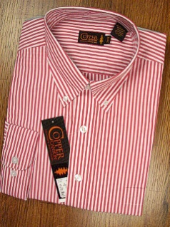 #056388. L TALL. RED Retail $  55.00 Long Sleeve BD/BU by COPPER COVE. BENGAL STRIPE VERT FW:  1,