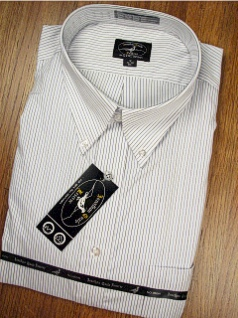 #105871. 18.0 34-35 Big. WHT/BLUE Retail $  65.00 Dress Long Sleeves by JONATHAN QUALE. PINSTRIPE ALL COTTON FW:  1