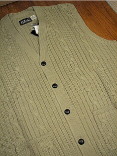 #176941. 2XL TALL. TAUPE Retail $  44.00 Sweaters by D'AVILA. CABLE CARDIGAN VEST Whs A:  1