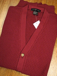 #215637. 4XL TALL. WINE Retail $  69.00 Sweaters by CTTON TRADERS. TEXTURED CARDIGAN Whs:  1,