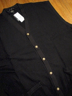 #207047. XL TALL. BLACK Retail $  55.00 Sweaters by CTTON TRADERS. CARDIGAN VEST TEXTURE Whs A:  1