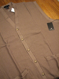 #177940. 2XL BIG. MOCHA Retail $  55.00 Sweaters by CTTON TRADERS. CARDIGAN VEST TEXTURE FW:  1