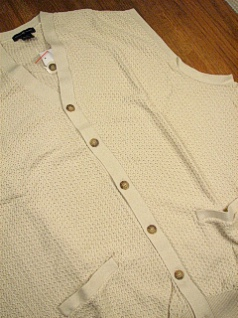 #132686. XL TALL. TAUPE Retail $  55.00 Sweaters by CTTON TRADERS. CARDIGAN VEST TEXTURE Whs A:  1