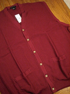 #218854. XL TALL. WINE Retail $  55.00 Sweaters by CTTON TRADERS. CARDIGAN VEST TEXTURE Whs A:  1
