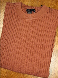 #355339. L TALL. BRONZE Retail $  69.00 Sweaters by CTTON TRADERS. VERTICAL CABLE CREW Whs A:  1