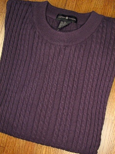 #279271. L TALL. PLUM Retail $  69.00 Sweaters by CTTON TRADERS. VERTICAL CABLE CREW Whs A:  1
