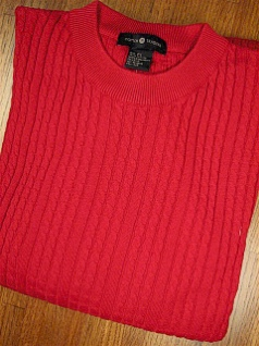 #355542. L TALL. RED Retail $  69.00 Sweaters by CTTON TRADERS. VERTICAL CABLE CREW Whs:  1,