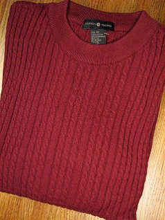 #355690. L TALL. WINE Retail $  69.00 Sweaters by CTTON TRADERS. VERTICAL CABLE CREW Whs A:  1