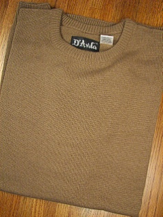 #356541. L TALL. MOCHA Retail $  39.50 Sweaters by D'AVILA. CREW ACRYLIC SOFTOUCH Whs:  1,