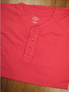 #347141. XL TALL. TOMATO Retail $  28.00 Short Sleeve Henley by WHITE MOUNTAIN. HENLEY JERSEY RAGLAN Whs A: 11