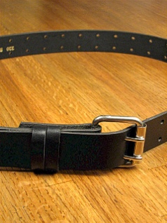 #085393. 48 . BLACK Retail $  35.00 Belts by MARK WOLF. DOUBLE PRONG HOLES Whs:  2,