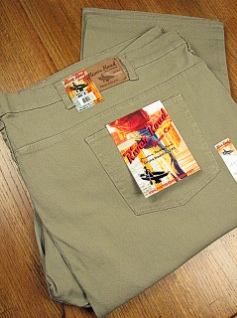 #360070. 52 34. KHAKI Retail $  64.00 Cotton Jean by GRAND RIVER. STRETCH DENIM JEAN <font face=arial size=2><BR>Special Order Item.</font> <B>Item stocked by River Road.  Allow an extra 5 days for handling.</B>