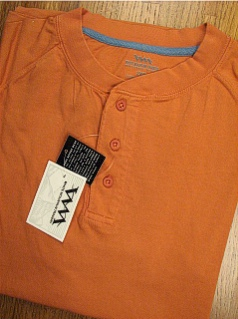 #210199. 2XL BIG. BRICK Retail $  28.00 Short Sleeve Henley by WHITE MOUNTAIN. HENLEY JERSEY RAGLAN Whs A: 10 FW:  1