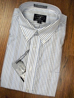 #275811. 18.0 34-35 Big. WHITE Retail $  42.50 Dress Long Sleeves by JONATHAN QUALE. COMFORT MULTI STRIPE FW:  1,