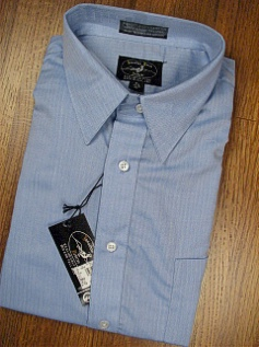 #090700. 17.5 35-36 Tall. BLUE Retail $  42.50 Dress Long Sleeves by JONATHAN QUALE. COMFORT HERRINGBONE Whs A:  4 FW:  1