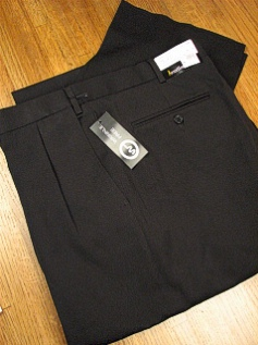 #125143. 58 REG. BLACK Retail $  69.00 Dress Pants by JONATHAN QUALE. EXPANDER GAB PLEAT Whs A:  1   <br><b>This item requires hemming.