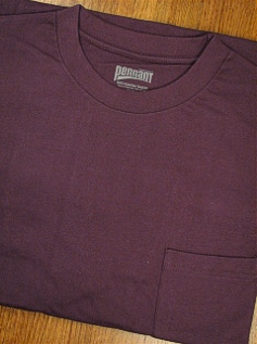 #018265. 3XL TALL. PLUM Retail $  18.00 Short Sleeve Tee by PENNANT SPORT. PREMIUM POCKET TEE Whs A: 15 FW:  3